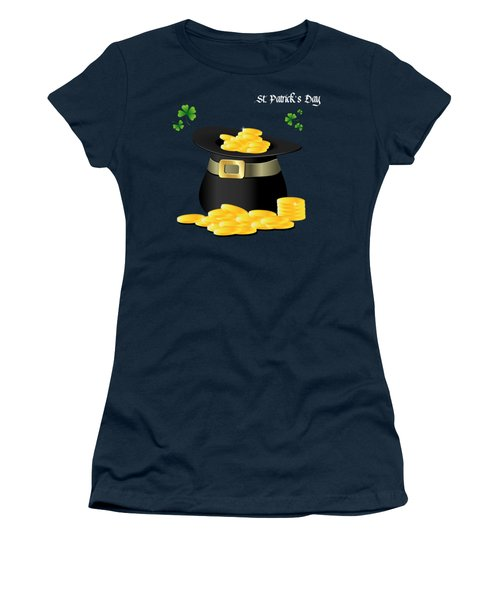 St. Patrick's Day Gold Coins In Hat Women's T-Shirt (Junior Cut) by Serena King