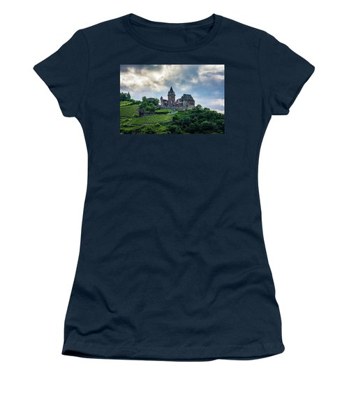 Women's T-Shirt (Athletic Fit) featuring the photograph Stahleck Castle by David Morefield