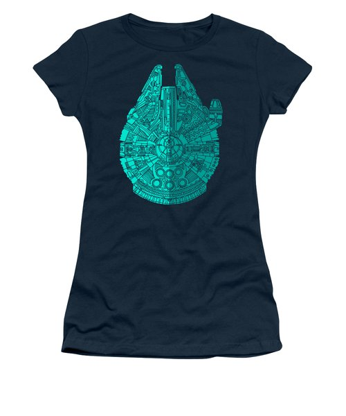 Star Wars Art - Millennium Falcon - Blue 02 Women's T-Shirt
