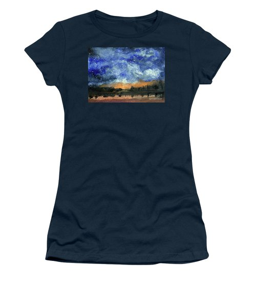 Starry Night Across Our Lake Women's T-Shirt (Junior Cut) by Randy Sprout