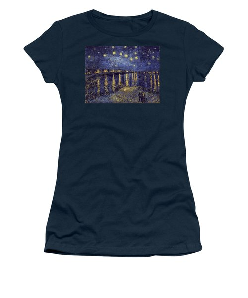 Women's T-Shirt featuring the painting Starry Night Over The Rhone by Van Gogh