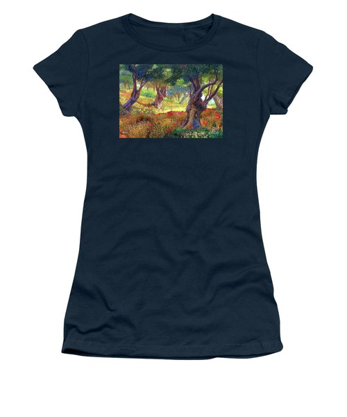 Tranquil Grove Of Poppies And Olive Trees Women's T-Shirt (Athletic Fit)