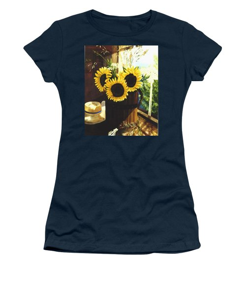 Women's T-Shirt (Junior Cut) featuring the painting Sunflower Sill by Renate Nadi Wesley