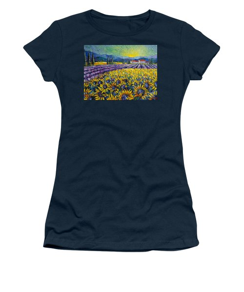 Sunflowers And Lavender Field - The Colors Of Provence Modern Impressionist Palette Knife Painting Women's T-Shirt