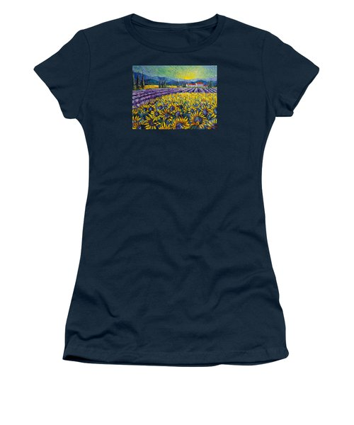 Sunflowers And Lavender Field - The Colors Of Provence Women's T-Shirt (Athletic Fit)