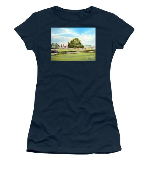 Women's T-Shirt (Athletic Fit) featuring the painting Sunningdale Golf Course 18th Green by Bill Holkham