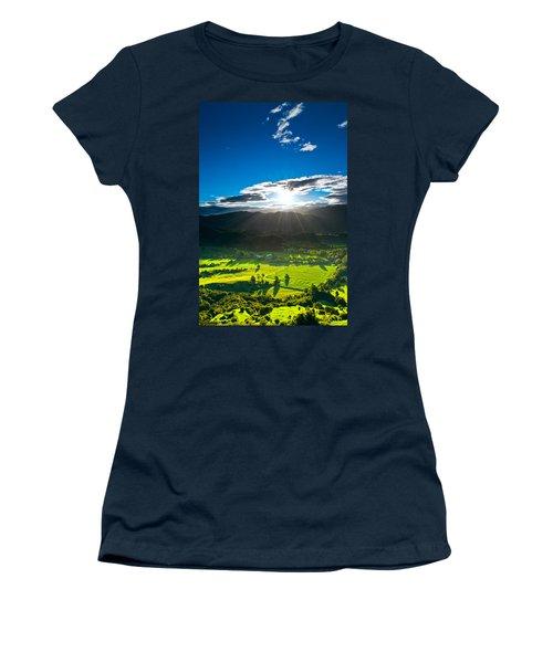 Sunrays Flood Farmland During Sunset Women's T-Shirt