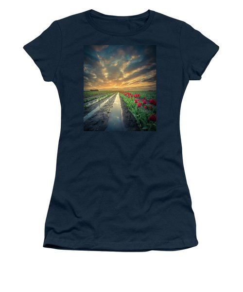 Women's T-Shirt (Athletic Fit) featuring the photograph Sunrise At Tulip Filed After A Storm by William Lee