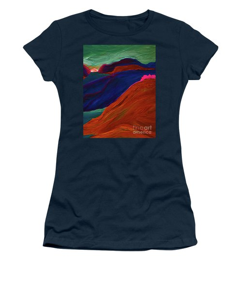 Women's T-Shirt (Junior Cut) featuring the painting Sunrise Castle 2  by First Star Art