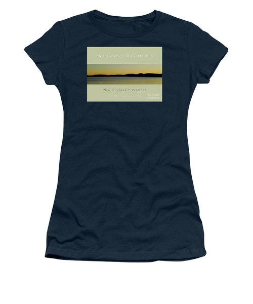 Sunrise Over Malletts Bay Greeting Card And Poster - Six V4 Women's T-Shirt (Junior Cut) by Felipe Adan Lerma