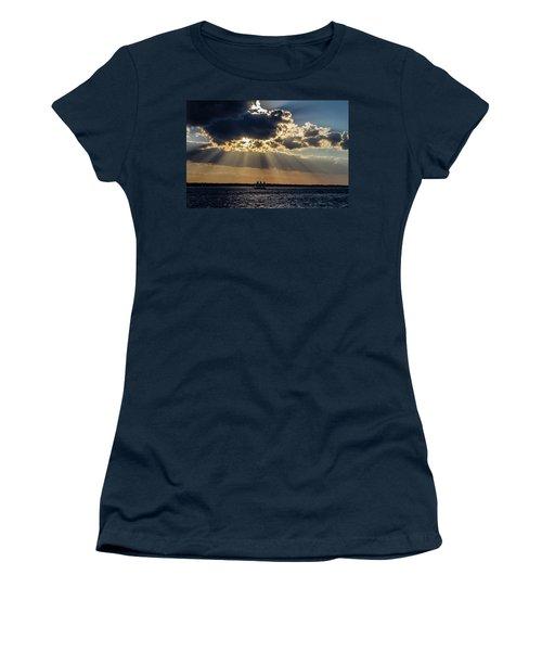 Sunset And A Three Masted Schooner Women's T-Shirt (Junior Cut) by Menachem Ganon