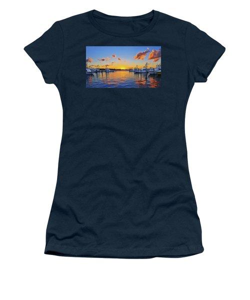 Sunset Over The Sailfish Marina In Riviera Beach Florida Women's T-Shirt