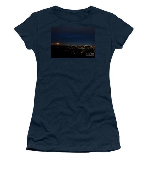 Super Moon 2016 Rises Over Boston Massachusetts Women's T-Shirt (Junior Cut) by Diane Diederich