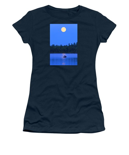 Women's T-Shirt (Junior Cut) featuring the photograph Super Moon At The Lake by Barbara West