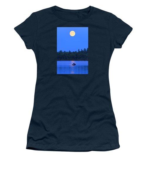 Super Moon At The Lake Women's T-Shirt (Junior Cut) by Barbara West