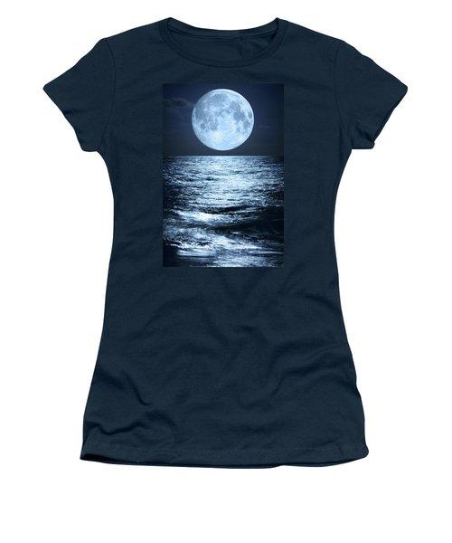 Super Moon Over Ocean Women's T-Shirt