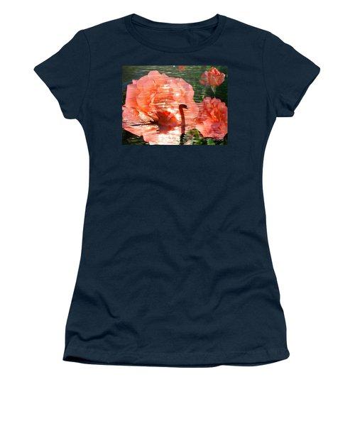 Swan In Lake With Orange Flowers Women's T-Shirt (Junior Cut) by Annie Zeno