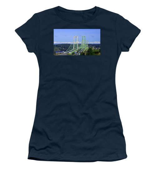Tacoma Narrows Bridge With Olympic Mountains Women's T-Shirt (Athletic Fit)