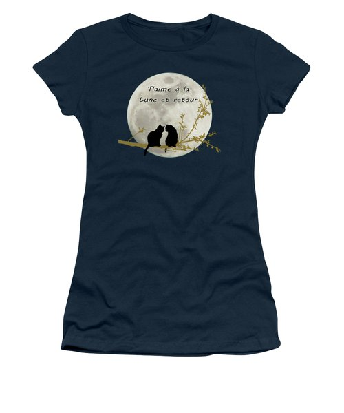 Women's T-Shirt (Junior Cut) featuring the digital art T'aime A La Lune Et Retour by Linda Lees