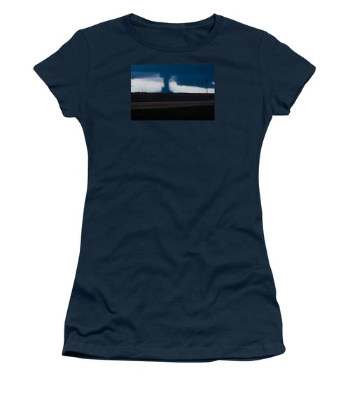 Women's T-Shirt (Junior Cut) featuring the photograph Terror On The Horizon In Western Kansas by Shirley Heier