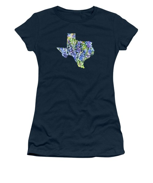 Texas Blue Texas Map On White Women's T-Shirt