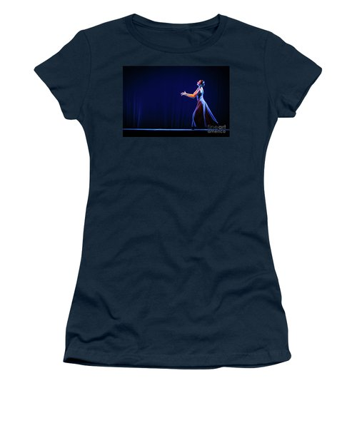 Women's T-Shirt (Athletic Fit) featuring the photograph The Beautiful Ballerina Dancing In Blue Long Dress by Dimitar Hristov
