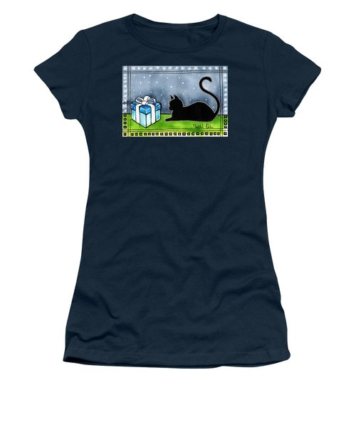 The Box Is Mine - Christmas Cat Women's T-Shirt (Athletic Fit)