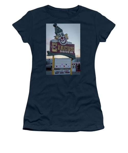 Women's T-Shirt (Junior Cut) featuring the photograph The Circus Drive In Sign Wall Township Nj by Terry DeLuco