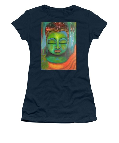 The Green Buddha Women's T-Shirt (Junior Cut) by Prerna Poojara