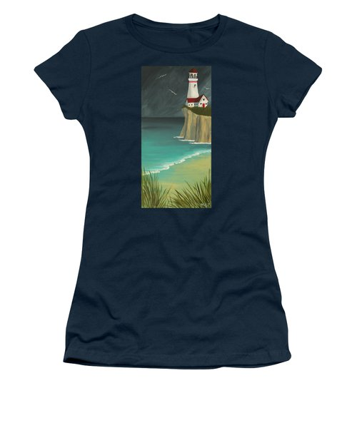 The Lighthouse On The Cliff Women's T-Shirt (Athletic Fit)