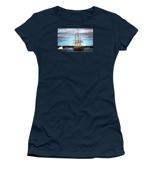 Women's T-Shirt (Junior Cut) featuring the photograph Tall Ship The Oliver Hazard Perry by Tom Prendergast
