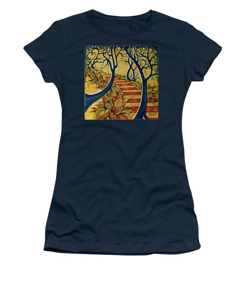 Women's T-Shirt (Junior Cut) featuring the painting The Stairs To Now by Anna Ewa Miarczynska