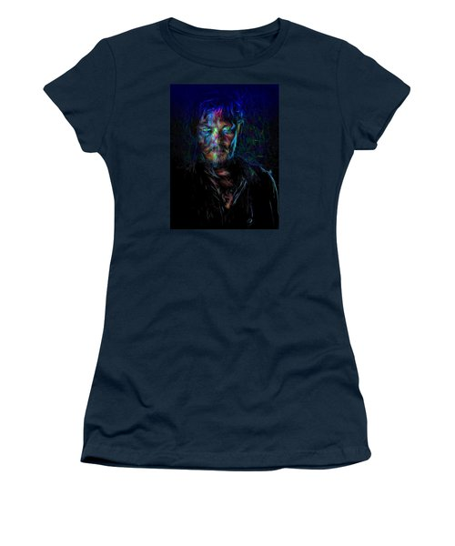 The Walking Dead Daryl Dixon Painted Women's T-Shirt (Junior Cut) by David Haskett