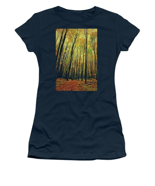 Women's T-Shirt (Athletic Fit) featuring the photograph The Woods In The North by Michelle Calkins