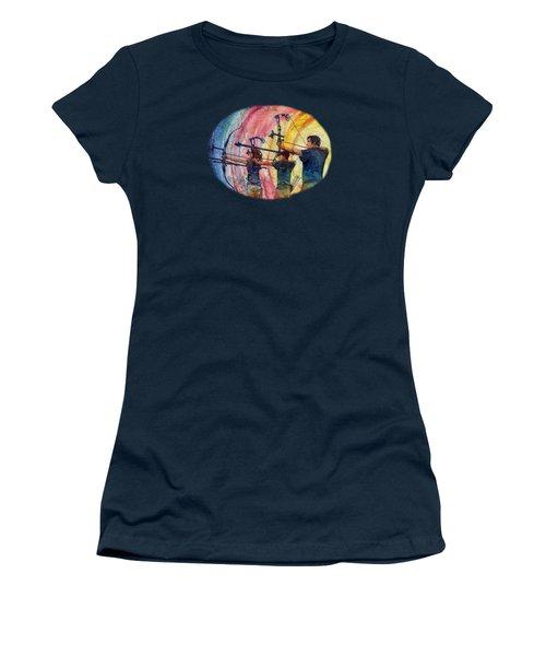 Women's T-Shirt (Junior Cut) featuring the painting Three 10s by Hailey E Herrera