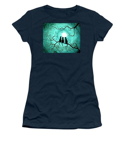 Three Black Cats Under A Full Moon Women's T-Shirt (Junior Cut) by Laura Iverson
