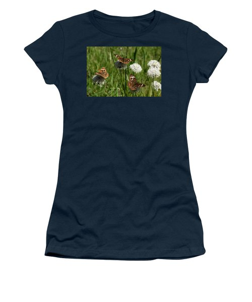 Three Buckeye Butterflies On Wildflowers Women's T-Shirt