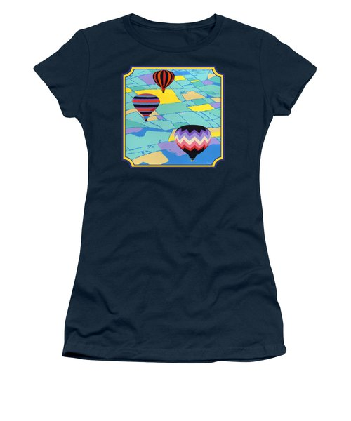 Three Hot Air Balloons Arial Absract Landscape - Square Format Women's T-Shirt (Athletic Fit)