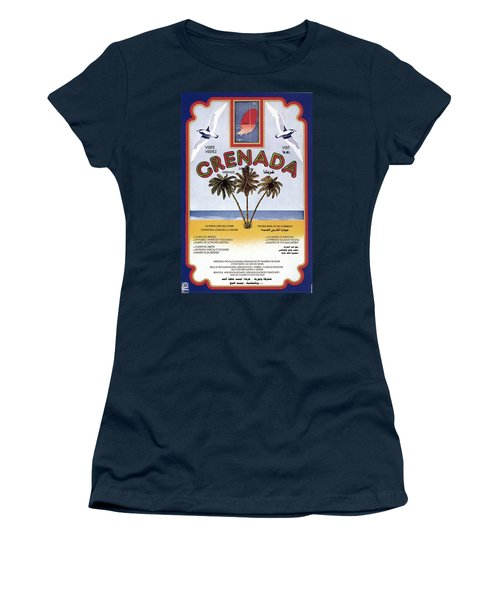 Three Palm Trees On The Sea Shore In Grenada - Vintage Travel Poster Women's T-Shirt