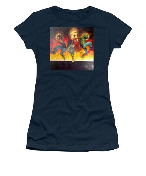 Women's T-Shirt (Junior Cut) featuring the painting Through The Fire by Christopher Marion Thomas