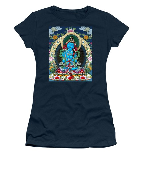 Tibetan Thangka -  Vajradhara Women's T-Shirt (Junior Cut) by Serge Averbukh