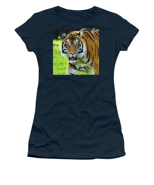 Women's T-Shirt (Junior Cut) featuring the photograph Tiger The Stare by Larry Nieland