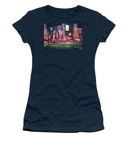 Tokyo Street At Night, Japan 2 Women's T-Shirt (Athletic Fit)