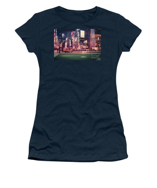 Tokyo Street At Night, Japan 2 Women's T-Shirt (Athletic Fit)