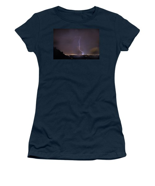 Women's T-Shirt (Junior Cut) featuring the photograph It's A Hit Transformer Lightning Strike by James BO Insogna