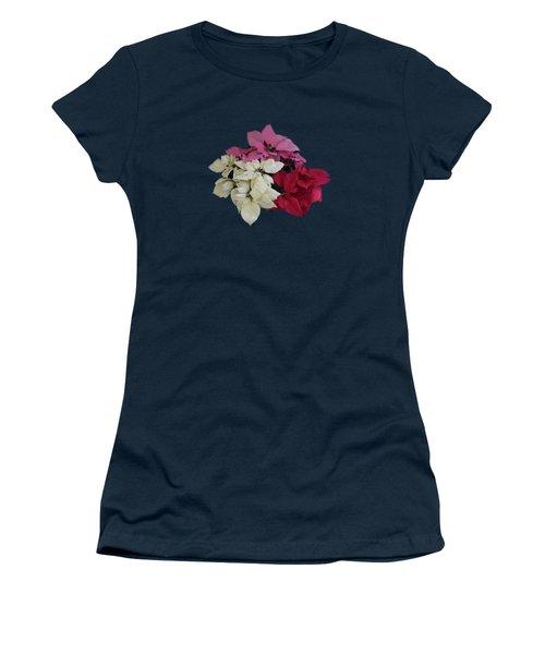 Tricolor Poinsettias Transparent Background   Women's T-Shirt