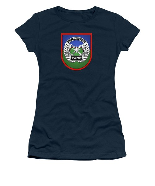 Women's T-Shirt (Junior Cut) featuring the digital art U. S.  Air Force Tactical Air Control Party -  T A C P  Beret Flash With Crest Over Blue Velvet by Serge Averbukh