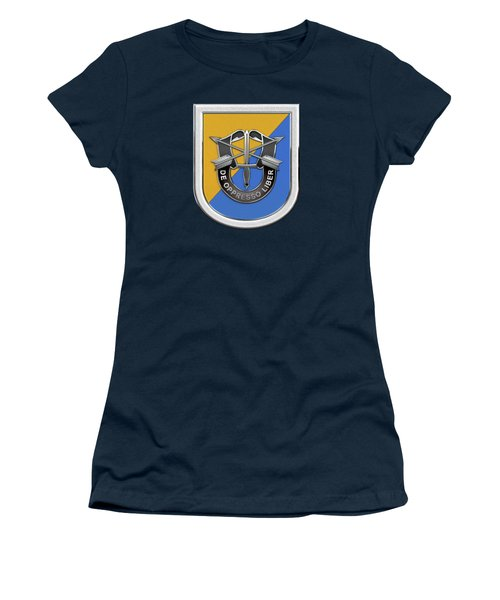 U. S.  Army 8th Special Forces Group - 8 S F G  Beret Flash Over Green Beret Felt Women's T-Shirt (Junior Cut) by Serge Averbukh