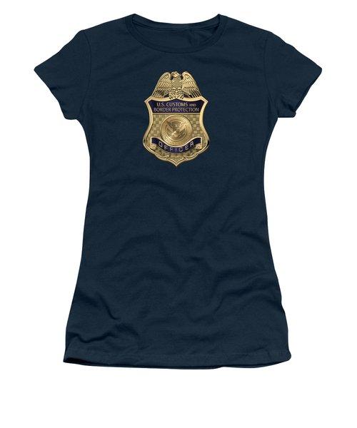 U. S.  Customs And Border Protection -  C B P  Officer Badge Over Blue Velvet Women's T-Shirt