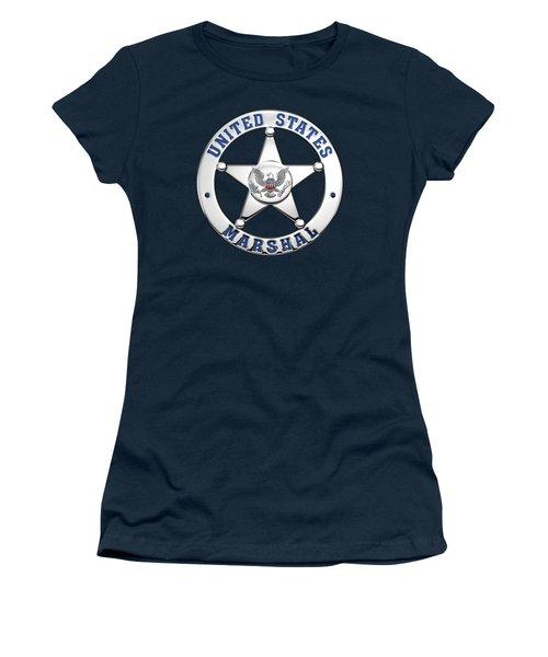 Women's T-Shirt (Junior Cut) featuring the digital art U. S. Marshals Service  -  U S M S  Badge Over Blue Velvet by Serge Averbukh
